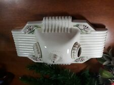 VINTAGE ART DECO CERAMIC 2 lamp WALL SCONCE LAMP ARCHITECTURAL SALVAGE LIGHT