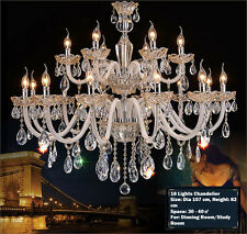 Island 18 Lights Pendant Lamp Champagne Gold Crystal Chandelier Wall Fixtures