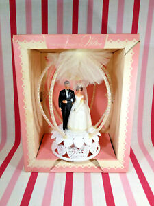 Charming 1950's Wilton Bride & Groom Brunette Large Canopy Cake Topper + Org Box