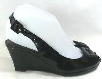 Clarks Black Patent Peep Toe Wedge Heels Shoes UK 4.5D
