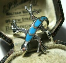 Vintage Style Sterling Silver Turquoise Inlay Lizard Reptile RING Size N 6.75