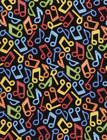 Fabric Music Notes Neon on Black Cotton by the 1/4 yard BIN
