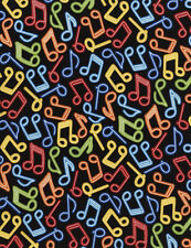 Fabric Music Notes Neon on Black Cotton 34""