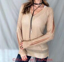 Women's Cold Shoulder Slit Sleeve Arm Cutout Lightweight Sheer Knit Sweater Top