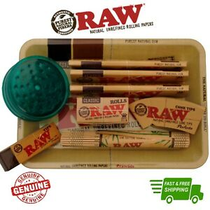 RAW Mini Rolling Tray Gift Set Classic Papers Filter Tips Mat Rolls Rips