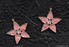 VINTAGE PINK ROSE GIVRE JEWELS STARS CHARMS PENDANT Gold Plated Silver EARRING