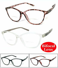1, 2 or 3 Pairs Womens Retro Cat Eye Frame Bifocal Reading Glasses Spring Hinges