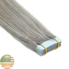 Seamless Tape in Skin Weft Remy Human Hair Extensions Silver Grey 20Pcs 16Inch