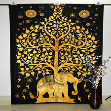 Wall Hanging Indian Elephant Tree Indian Twin Size Cotton Home Decor Tapestry