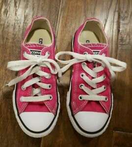 Girls Hot Pink Converse All Star Sneakers Casual Shoes Size 11 Youth EUC