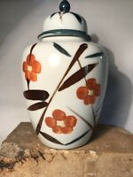 "Vintage Japanese Hand Painted Flower Ceramic 8"" Ginger Jar W/Lid"