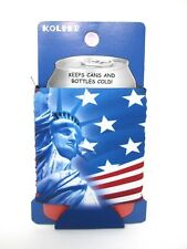 Can Cooler Koozie Beer Soda Bottle Patriotic American US Flag Statue Of Liberty