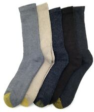 $50 Gold Toe New Men'S 5-Pairs Pack Gray Brown Cotton Crew Socks Shoe Size 6-12