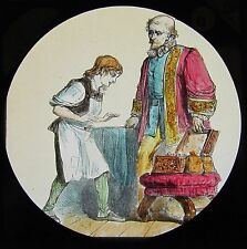 COLOUR Glass Magic Lantern Slide DICK WHITTINGTON NO6 C1890 VICTORIAN DRAWING