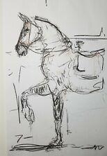 JOSE TRUJILLO - HUGE Art Expressive CHARCOAL DRAWING ORIGINAL Figurative Horse