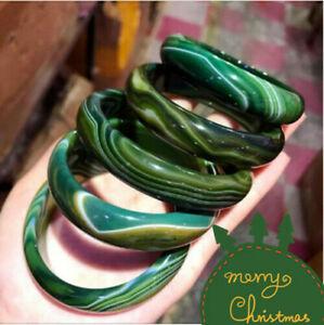Natural Green agate jade striped bangle bracelet big size 68-70 mm +box