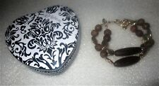 Brighton WOODWIND Silver & Wood Beaded Bracelet + Heart Tin