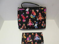 Artsy Black Jewel Studded Novelty Print Purse and Matching Wallet, NEW