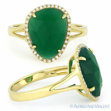 2.74ct Checkerboard Green Agate Round Diamond Halo Cocktail Ring 14k Yellow Gold