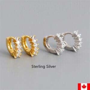 Pair 925 Sterling Silver 5mm Mini Huggies Small Hoops ear stud earring jewelry