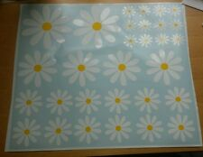 30 large white daisy flower yellow centres, car graphics, vinyl sticker, decals