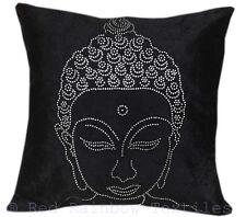 Buddha Black Silver Sparkle Diamante Crystal Velvet Bling 17 Inch Cushion Cover