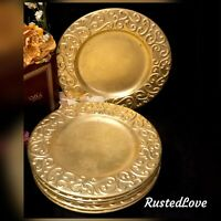 Vintage Gold Leaf Chargers 13.5 inches Heavy Hand Wash ITALY set of 6