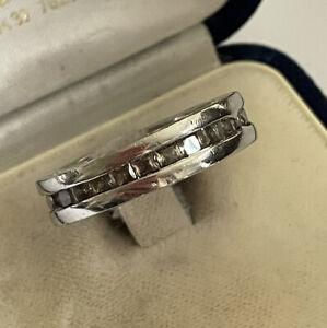Vintage 925 Silver Bulgari Bvlgari Cubic Zirconia Set Band Dress Ring Size Q