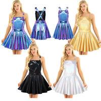 Women Shiny Metallic Suspender Mini Dress Bib Overall Party Dress Night Clubwear