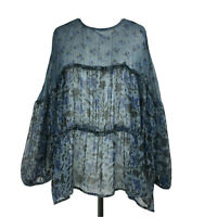 Zara Blue Floral Sheer Tiered Voluminous Peasant Blouse Top Boho Hippy S 8 10