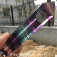 Natural Quartz Crystal Pipes rainbow fluorite Smoking Pipe Point obelisk Healing