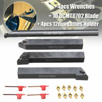 4Pcs 12mm Lathe Turning Tool Holder Boring Bar + 10* DCMT0702 Blade Inserts Kit