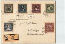 AUSTRIA 1938 5v ON WIEN REGD COVER WITH PLEASE STAMP CLEAN CACHET
