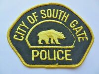 Vintage City of South Gate California Police Gold Bear Cheese Cloth Patch Used