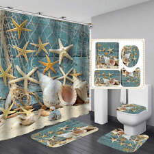 Beach Starfish Conch Shower Curtain Bath Mat Toilet Cover Rug Bathroom Decor