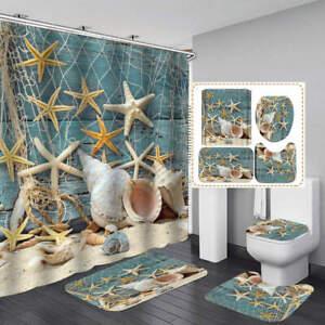 Beach Starfish Conch Shower Curtain Bath Mat Toilet Cover Rug Bathroom Decor