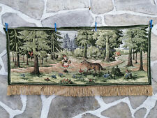 Vintage tapestry wall carpet Gobelin JACQUARD Little Red riding hood  and wolf