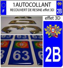 1 adesivo targa auto TUNING 3D RESINA STEMMA PORTOGALLO DIPARTIMENTO 2B