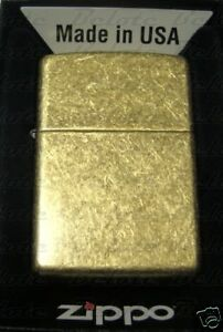 Zippo Antique Brass Lighter Model 201FB **NEW**