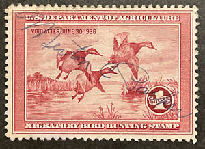 TDStamps: US Federal Duck Stamps Scott#RW2 Used Lightly Crease