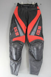 IXS LEATHER BIKER TROUSERS + REMOVABLE CE ARMOUR: WAIST 26 IN/INSIDE LEG 29 IN