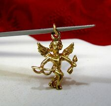 14K YELLOW GOLD 3D CUPID ANGEL LOVE BOW ARROW CHARM PENDANT 2.3 GRAMS