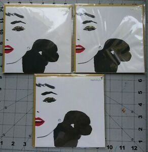 Papyrus Glitter Eyed, Red Lipped Model With Jewel Earrings Greeting Cards 3 ct