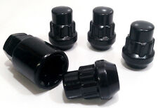 4 x black lock nuts. voiture roue verrouillage écrou boulons. M12 x 1.5, 19mm hex, conique