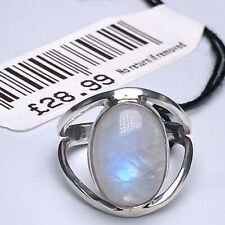 Beautiful 925 Sterling Silver Elegant Oval MOONSTONE Gemstone Ring Gift Boxed