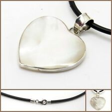 925 Sterling Silver Mother of Pearl Heart Pendant with Black Neck Band