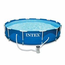 "Intex 12' x 30"" Metal Frame Round Above Ground Swimming Pool with Filter Pump"