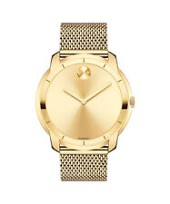 Movado Bold Museum Swiss Gold Dial Gold Tone Steel Mesh Unisex Watch (3600373)