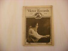 Original Victor Phonograph Record Catalog - June, 1921