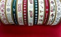 Tilly's Trims Vintage Cotton Christmas Ribbon on 5m & 25m Rolls BY BERTIE'S BOWS